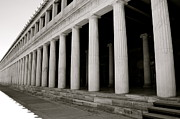 Museum Athens Posters - Greek Columns Black and White Poster by Corinne Rhode