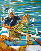 Sea Birds Paintings - Greek Fisherman by Yvonne Ayoub