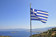 Flag Pole Posters - Greek flag Crete Greece Poster by Matthias Hauser