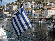 Hydra - Greek Flag in Hydra by Alexandros Daskalakis