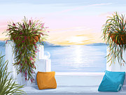 Sunset Seascape Prints - Greek house Print by Veronica Minozzi