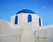 Orthodox Painting Framed Prints - Greek Island Church  Framed Print by Jerome Stumphauzer