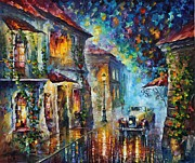 Night-scape Paintings - Greek Night - Palette Knife Oil Painting On Canvas By Leonid Afremov by Leonid Afremov