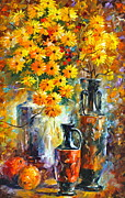 Impressionist Vase Floral Paintings - Greek Vases by Leonid Afremov