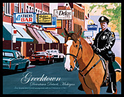 Machines Drawings Posters - Greektown Poster by Lance Graves