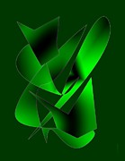 Black Drawings - Green Abstract Art by Mario  Perez