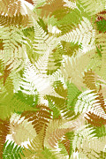 Assorted Digital Art Posters - Green Abstract Fern Leaf Pattern Art Poster by Christina Rollo