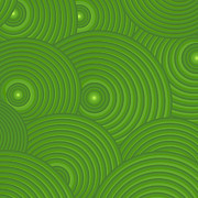 Spirals Prints - Green Abstract Print by Frank Tschakert