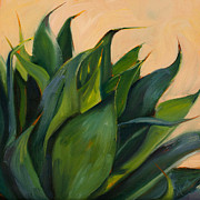Agave Paintings - Green Agave Right by Athena Mantle