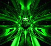 Wild Imagination Prints - Green Alien Abstract Print by Mr Ds Abstract Adventures