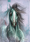 Wild Horse Drawings Posters - Green And Blue Arabian Horse Poster by Angel  Tarantella