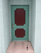 Green Door Prints - Green and Maroon Door with Beer Bottle Print by Peter Veljkovich