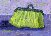 Night Out Painting Originals - Green and Purple Purse Party by Shalece Elynne