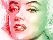 Singer Painting Posters - Green And Red Beauty Poster by Atiketta Sangasaeng