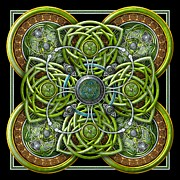 Celtic Spiral Posters - Green and Silver Celtic Cross Poster by Richard Barnes