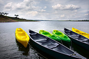Lake Posters - Green and yellow kayaks Poster by Carlos Caetano