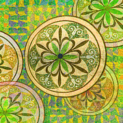 Mosaic Art Mixed Media Posters - Green and Yellow Mosaic Circles and Flowers Poster by Tony Rubino
