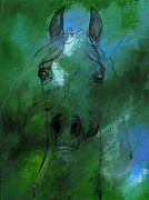 Horse Drawing Painting Prints - Green Print by Angel  Tarantella