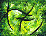 Abstract Expression Pastels - Green Apple by Kamil Swiatek