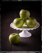 Vignette Framed Prints - Green Apple Still Life Framed Print by Edward Fielding