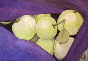 Hoodie Painting Framed Prints - Green Apples In A Purple Sweater 2 Framed Print by Tanya Petruk