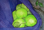 Sweater Painting Originals - Green Apples In A Purple Sweater 3 by Tanya Petruk