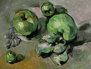 Apple Art Posters - Green Apples Poster by Paul Cezanne