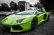 Selective Color Framed Prints - Green Aventador Framed Print by Matt Malloy