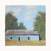 Peaceful Scene Pastels Framed Prints - Green Barn Framed Print by Diana Jahns