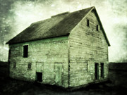 Painted Wood Prints - Green Barn Print by Julie Hamilton
