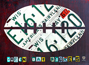 Football Mixed Media Framed Prints - Green Bay Packers Football License Plate Art Framed Print by Design Turnpike
