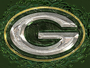 Lambeau Field Framed Prints - Green Bay Packers Logo Framed Print by Jack Zulli