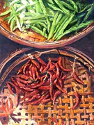 Green Beans Paintings - Green Beans and Chilies by Larry  Womack