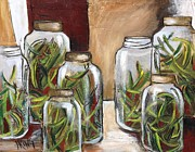 Green Beans Paintings - Green Beans by Jenny King