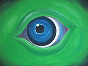 Eye Of The Beast Framed Prints - Green beast Framed Print by Sven Fischer