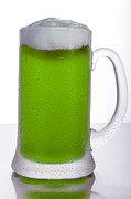 Frosty Mug Framed Prints - Green Beer Framed Print by Ken Lamb