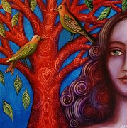 Alice Mason - Green Birds and Red Tree