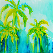 Tropical Art Paintings - Green Blue Miami Beach Palm Trees by Patricia Awapara