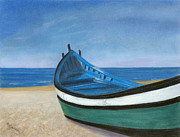 Sand Pastels - Green Boat Blue Skies by Arlene Crafton