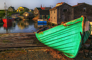 Water Vessels Photo Posters - Green boat Peggys Cove Poster by Garry Gay