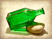 Glass Pebble Posters - Green Bottle Poster by Brenda Conrad