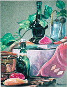 Wine Bottles Pastels - Green Bottles and Copper by Harriett Masterson