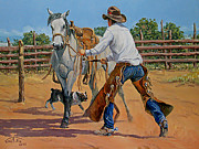 Heeler Paintings - Green Broke Grey by Randy Follis
