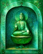 Buddhist Painting Posters - Green Buddha Poster by Sue Halstenberg