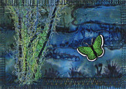 Quilting Tapestries - Textiles - Green Butterfly by Jean Baardsen