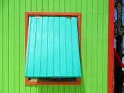 Window Cover Framed Prints - Green Cabin Framed Print by Randall Weidner