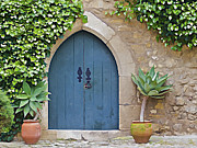 Cobblestone Prints - Green Castle Door of Obidos Print by David Letts