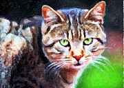Cat Eyes Digital Art - Green Cat Eyes Greeting Card by John Rizzuto