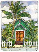 North Shore Mixed Media Prints - Green Church Print by Stacy Vosberg