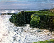 Most Popular Mixed Media Framed Prints - Green Cliffs Of Bird Rock Framed Print by Glenn McNary
